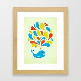 Colorful Swirls Happy Cartoon Whale Framed Art Print