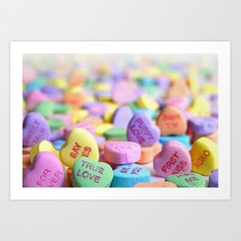 Valentine's Day Candy Hearts Art Print