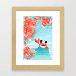 Summer Cute Crab Draw Framed Art Print