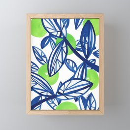 Blue and lime green abstract apple tree Framed Mini Art Print