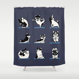 Husky Yoga Shower Curtain
