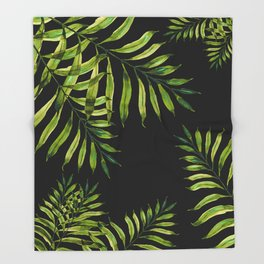Tropical Night - Greenery On Black Throw Blanket
