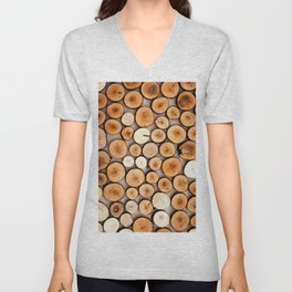 Colorful Wooden Cuttings Unisex V-Neck