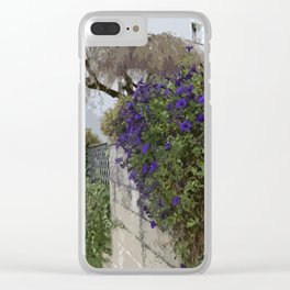 Purple Petunias on the Wall Clear iPhone Case
