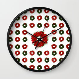 Christmas Wreath Pattern Wall Clock