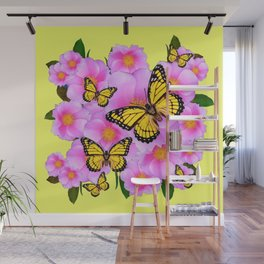 PINK WILD ROSES YELLOW MONARCH BUTTERFLIES Wall Mural