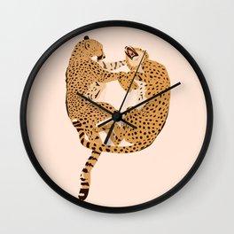 Cheetah Cuddles Wall Clock