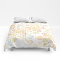 Bee and honeycomb watercolor Comforters