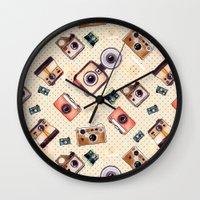 camera Wall Clocks featuring camera by Dibujados