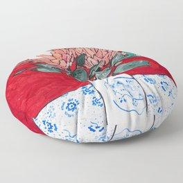 Delft Bird Vase of Proteas on Red Floor Pillow