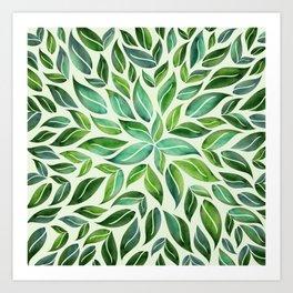 Spring Leaf Mandala Art Print