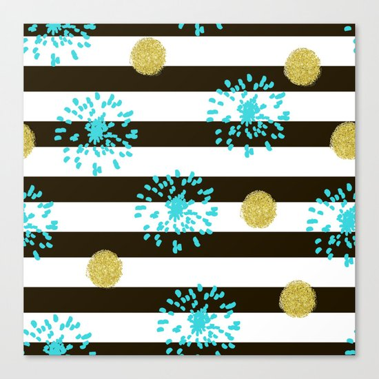 A festive mood. Striped background black and white with blue fireworks and Golden peas . Canvas Print