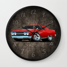 Classic Muscle Car Cartoon Wall Clock