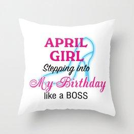 April Girl Birthday Throw Pillow