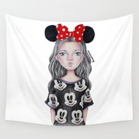 minnie Wall Tapestries featuring Minnie Mouse Inspired Style Girl Drawing by vivianhitsugaya