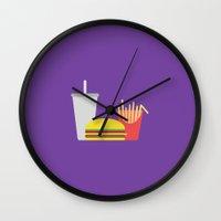 junk food Wall Clocks featuring Junk Food by Paul Goerne