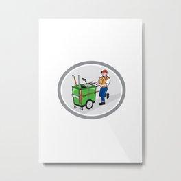 Street Cleaner Pushing Trolley Oval Cartoon Metal Print