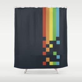 1980s Colorful Vintage Bitmap Pixel Shower Curtain
