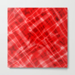 Pastel metal mesh with red intersecting diagonal lines and stripes. Metal Print