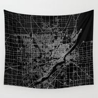 ohio Wall Tapestries featuring Toledo map ohio by Line Line Lines