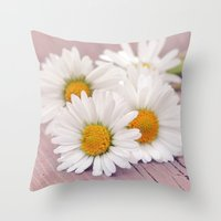 daisies Throw Pillows featuring Daisies. by Mary Berg