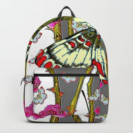 ORIENTAL STYLE BUTTERFLY & PINK ROSES GREY PATTERN DESIGN Backpack