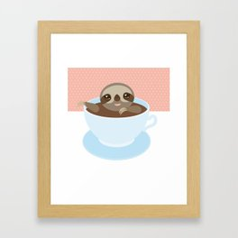 Sloth in a blue cup coffee, tea, Three-toed slot Framed Art Print