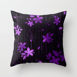 Colorful Art Deco Violet Flower Pattern Throw Pillow
