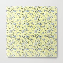 Gray Roses on a yellow backgroung. Metal Print