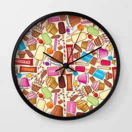 sweets seamless pattern (lollipop, candy cane, pudding in dish, birthday cake with candles) Wall Clock
