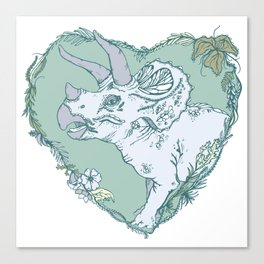 Triceratops Heart - Green Canvas Print