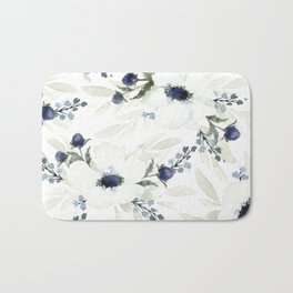 Watercolor Anemone and Thistle Bath Mat