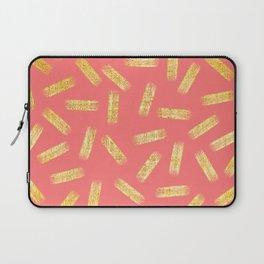 Elegant Pink and Gold Brushstroke Pattern Laptop Sleeve