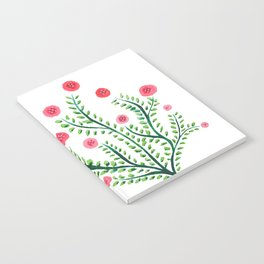 Abstract Spring Plant In Pink And Green Notebook