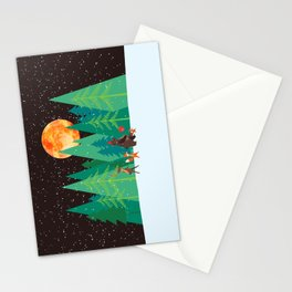 Take a walk under the moon Stationery Cards