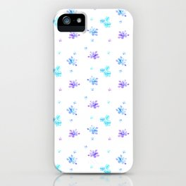 Watercolor Floral Print (blue + violet) iPhone Case
