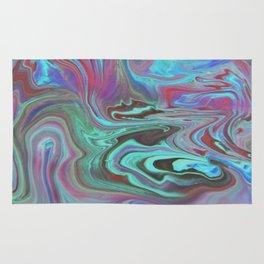 Fluid Nature - Blue Lava - Abstract Acrylic Pour Art Rug