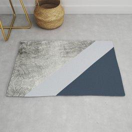Modern minimalist navy blue grey and silver foil geometric color block Rug