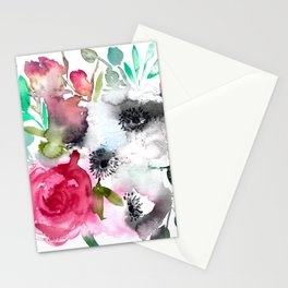 anemone and rose Stationery Cards