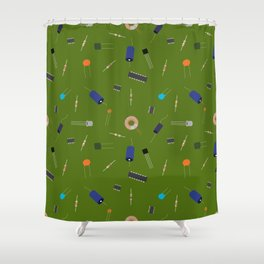 Circuit Elements - Green Shower Curtain