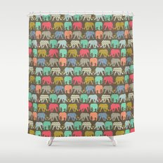 baby elephants and flamingos dark linen Shower Curtain
