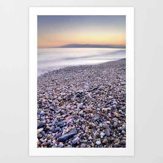 little stones at sea sunset Art Print