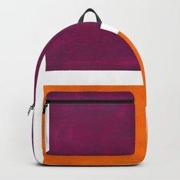 Purple Wine Yellow OchreMid Century Modern Abstract Minimalist Rothko Color Field Squares Backpack