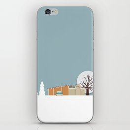 Retro series - Mid Century house in winter iPhone Skin