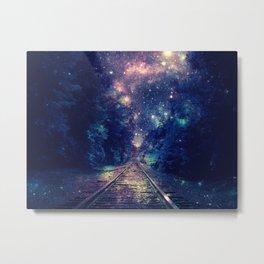"Dream Train Tracks : ""Next Stop, Anywhere"" Metal Print"