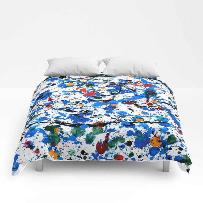 Abstract #23 - Frenzy in Blue Comforters