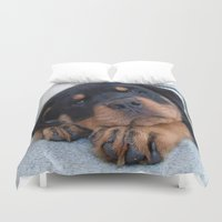 rottweiler Duvet Covers featuring Riley  🐾  The Rottweiler Puppy  🐾 by D.A.S.E. 3
