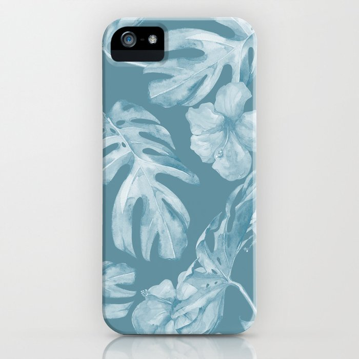 Tropical Escape Teal Blue Leaves + Hibiscus iPhone Case