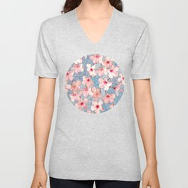 Shabby Chic Hibiscus Patchwork Pattern in Pink & Blue Unisex V-Neck