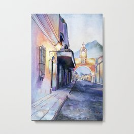 Painting of the Arch of Santa Catalina in city of Antigua, Guatemal Metal Print